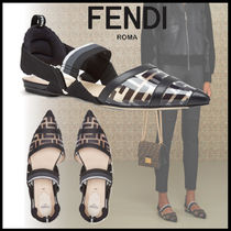FENDI Monogram Blended Fabrics Leather Elegant Style Mules Logo