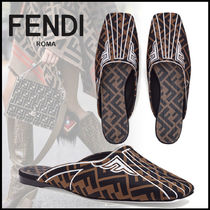FENDI Monogram Square Toe Casual Style Leather Sabo Sandals