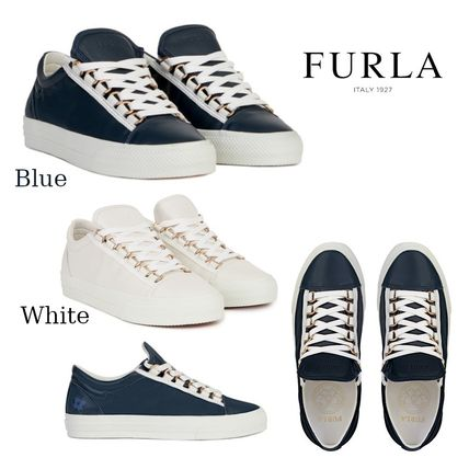 Round Toe Rubber Sole Lace-up Casual Style Plain Leather