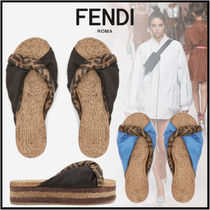 FENDI Monogram Open Toe Platform Casual Style Blended Fabrics