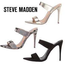 Steve Madden Faux Fur Plain Pin Heels Elegant Style Heeled Sandals