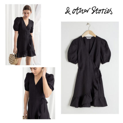 Wrap Dresses Short Casual Style Linen Puffed Sleeves V-Neck