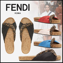 FENDI Monogram Open Toe Casual Style Blended Fabrics Sandals