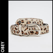 OBEY Leopard Patterns Casual Style Street Style Leather Belts