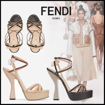 FENDI Square Toe Platform Leather Elegant Style