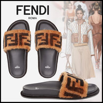 FENDI Open Toe Rubber Sole Casual Style Sheepskin Blended Fabrics
