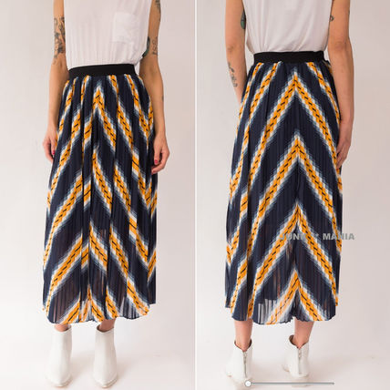 Stripes Pleated Skirts Long Elegant Style Maxi Skirts
