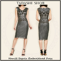TADASHI SHOJI Tight Sleeveless V-Neck Plain Medium Lace Dresses