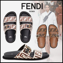 FENDI Open Toe Casual Style Leather Footbed Sandals Logo