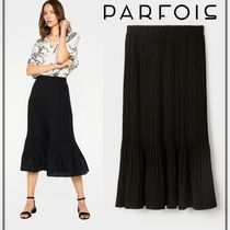 PARFOIS Casual Style Plain Medium Midi Skirts