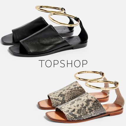 Open Toe Rubber Sole Casual Style Plain Leather Sandals
