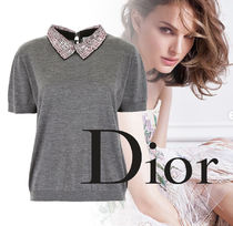 Christian Dior Cashmere Plain Short Sleeves Elegant Style Cashmere