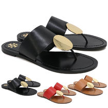 Tory Burch PATOS Plain Leather Footbed Sandals Logo Flat Sandals