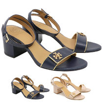 Tory Burch KIRA Plain Leather Block Heels Heeled Sandals