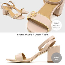 Tory Burch KIRA Plain Leather Block Heels Logo Heeled Sandals