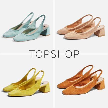 Square Toe Casual Style Suede Plain Block Heels Sandals