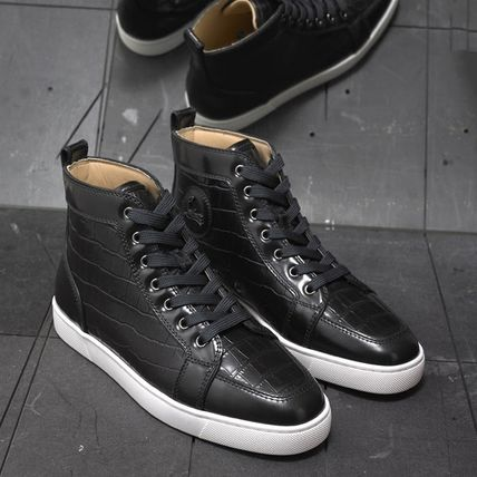 cheaper baa11 745d7 Christian Louboutin RANTUS 2019 SS Street Style Other Animal Patterns  Leather Sneakers (RANTUS-BLACK)