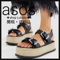 ASOS Square Toe Platform Casual Style Faux Fur Plain