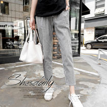 Stripes Casual Style Cotton Long Cropped & Capris Pants