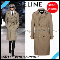 CELINE Unisex Wool Blended Fabrics Plain Long Trench Coats