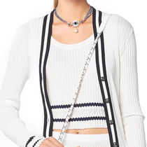 CHANEL Cable Knit Short Stripes Blended Fabrics U-Neck Plain Cotton