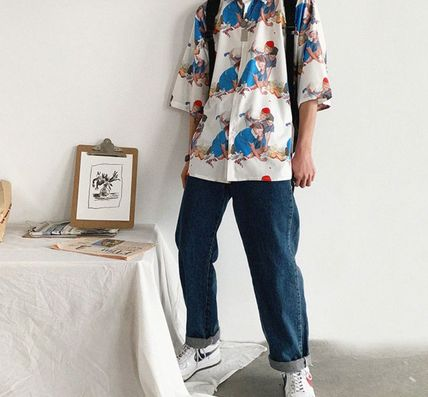 Shirts Street Style Cropped Oversized Shirts 7