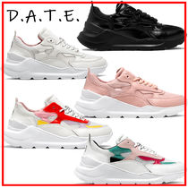 DATE Plain Toe Rubber Sole Lace-up Casual Style Street Style