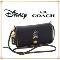 Disney Casual Style Collaboration Leather Shoulder Bags