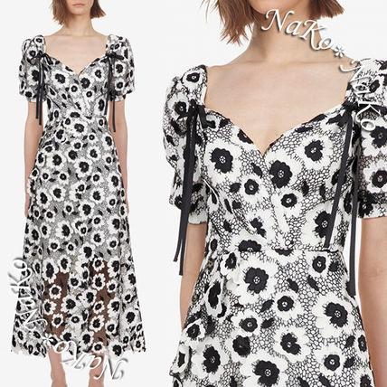 Flower Patterns A-line Blended Fabrics Puffed Sleeves V-Neck