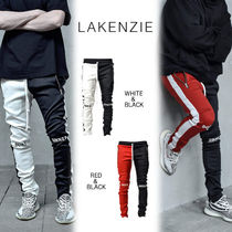 Tapered Pants Stripes Street Style Bi-color Tapered Pants