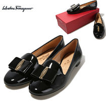 Salvatore Ferragamo Platform Round Toe Plain Leather Party Style Lace-Up Shoes
