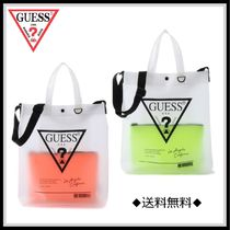 Guess Unisex Street Style A4 Crystal Clear Bags PVC Clothing Totes