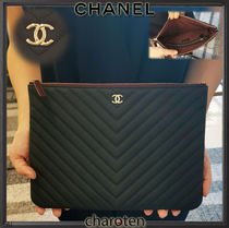 CHANEL ICON Unisex Calfskin Bag in Bag 2WAY Plain Clutches