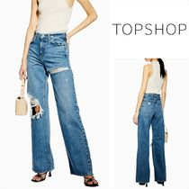 TOPSHOP Plain Cotton Long Jeans