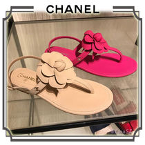 CHANEL Flower Patterns Open Toe Plain Leather Elegant Style Sandals