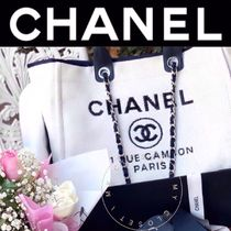 CHANEL DEAUVILLE Casual Style Nylon Blended Fabrics Street Style A4 2WAY