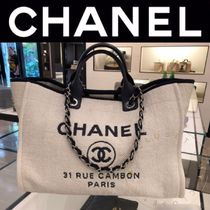 CHANEL DEAUVILLE Blended Fabrics Street Style Chain Mothers Bags