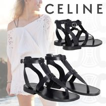 CELINE Plain Leather Elegant Style Sandals