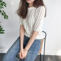 Crew Neck Cotton Short Sleeves Sweaters