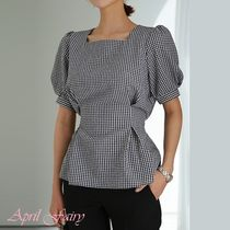 Other Check Patterns Short Sleeves Office Style
