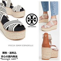 Tory Burch Stripes Open Toe Casual Style Blended Fabrics