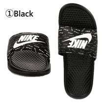Nike BENASSI Flower Patterns Open Toe Casual Style Unisex Plain