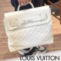 Louis Vuitton CITY STEAMER Monogram Unisex Street Style A4 2WAY Chain Leather