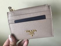 PRADA Calfskin Plain Card Holders