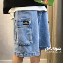 Denim Street Style Plain Cargo Shorts