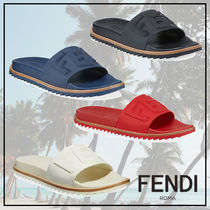 FENDI Blended Fabrics Plain Leather Shower Shoes Shower Sandals