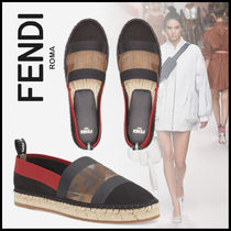 FENDI Round Toe Rubber Sole Casual Style Plain Logo Flats