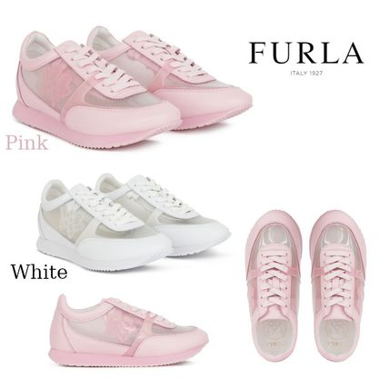 Flower Patterns Rubber Sole Lace-up Casual Style Leather