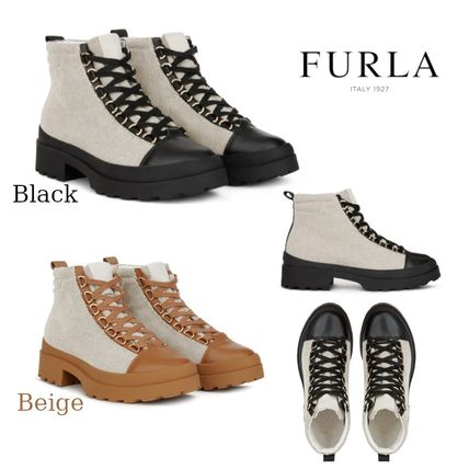 Round Toe Rubber Sole Casual Style Leather