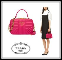 PRADA DIAGRAMME Casual Style 2WAY Chain Plain Leather Handbags